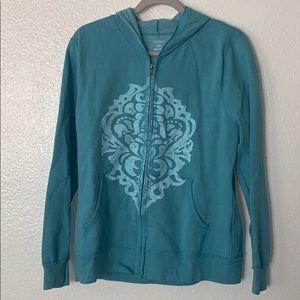 Tops - Turquoise print hoodie large (j)